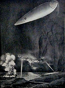 Artist (FRANK R. PAUL) impression of a cigar shaped UFO